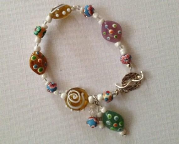 Sandpail - multi-colored glass beaded bracelet