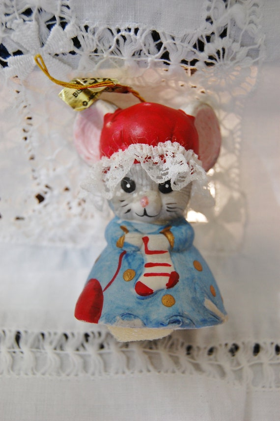 Vintage L'il Chimers Jasco Mouse Christmas Bell, new in Box Collectible