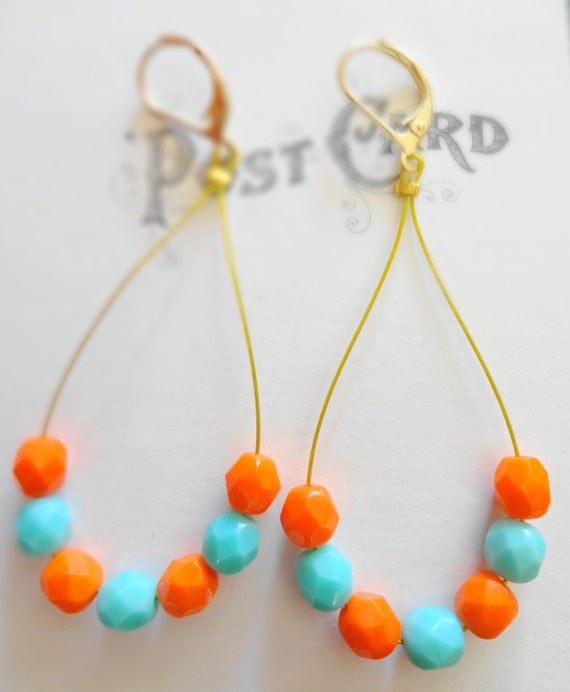 Vintage Orange Faceted Beaded Earrings Paired with Glass Aqua Beads Bold Vibrant Earrings