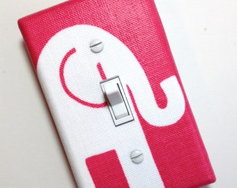 Bright Pink Elephant Light Switch Plate / Baby Girl Nursery Wall Decor / Hot Pink Switchplate Girls Room Bedroom Fuchsia Premier Prints Ele
