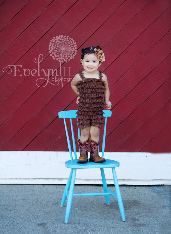 Clearance - Baby lace romper - COFFEE BROWN - Photography Prop - With or Without Straps