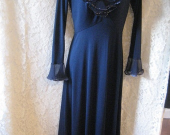 AWESOME NAVY Blue GOWN Sequins and Ruffles - New Year's Eve is Coming