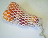 Cotton mesh produce or tote bag, ecru, large size