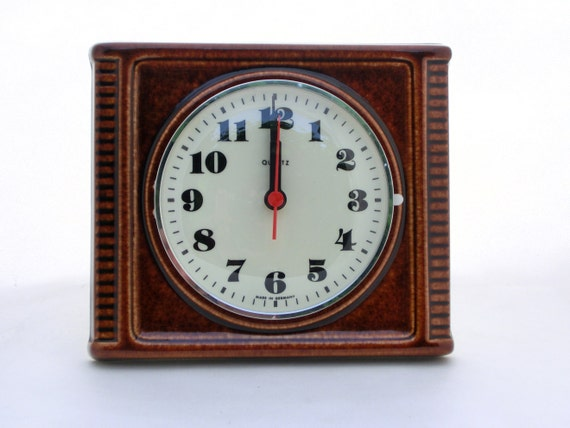 Vintage ceramic wall clock from Germany - brown color