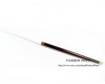 "Unique Cigarette Holder for Women. Dark Brown - WHITE STEM Costume  ""Audrey Hepburn"" 10.8""/275 mm fits slims cigarettes"