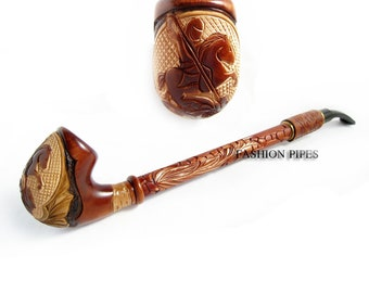 Churchwarden Wooden Pipe Decorated with Leather. St. George the Victorious Tobacco Pipe, Handcrafted Smoking Pipe of Pear Wood 13''