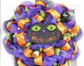 Black Cat Halloween Wreath  Mesh Wreath