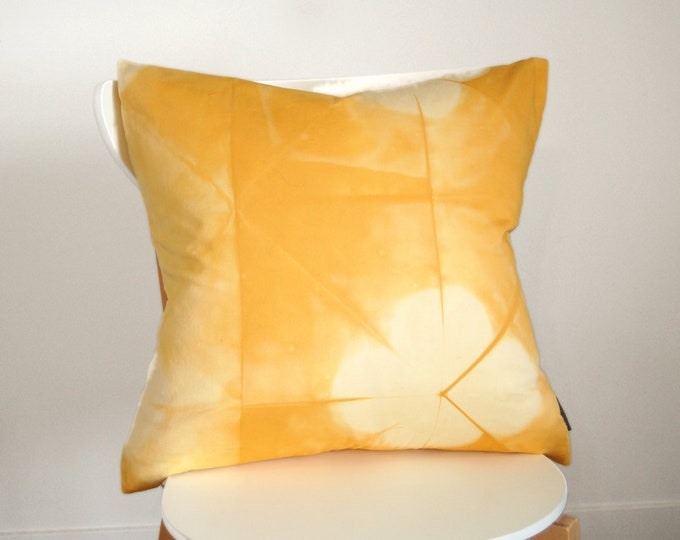100% Organic Cotton Shibori Pillow Cover - 20 x 20 inches - Goldenrod
