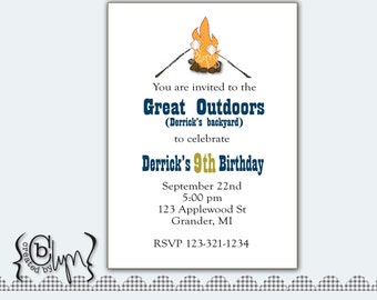 Camping in the great outdoors printable birthday invitation with fire and smores