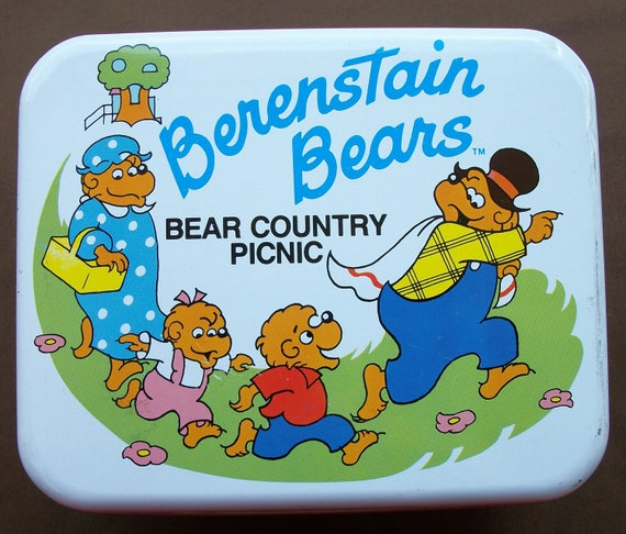 Reserved for Allison - Vintage 1980's Berenstain Bears Bear Country Picnic Tin-Lunch Box