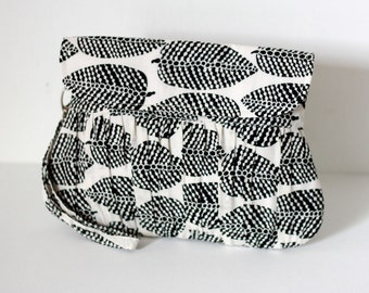 Black and White Wristlet Purse Autumn Leaves