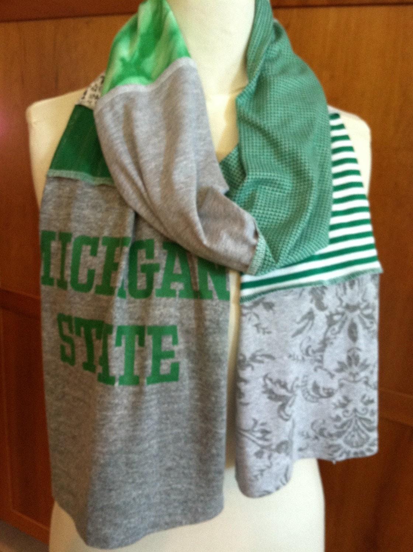 upcycled t shirt scarf michigan state msu