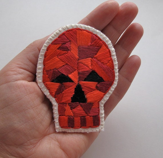 Day of the Dead skull brooch with geometric design embroidered