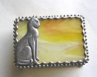 Stained Glass Jewelry Box|Cat Jewelry Box|Trinket Box|Cat|Kitty|Stained Glass|Jewelry|Jewelry Storage|Yellow|Handcrafted|Made in USA