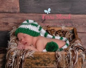 Green and White Striped Crochet Baby Long Tail Elf Hat - Photo Prop - made to order