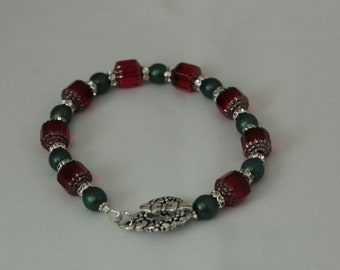 Red Cathedral Bead Rhinestone Christmas Bracelet
