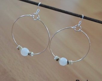 Seashell Jewelry ... Simple White Glass Bead Hoop Earrings (0686)