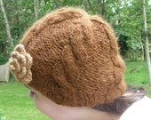 "Cassie Cables Hat"" Handknit, Handspun, Cria Alpaca, Soft, Warm, Dark Fawn color"