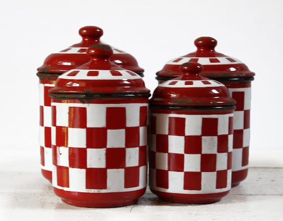 Vintage  SET of 4 french WHITE and RED checked enamel  canisters - Shabby chic