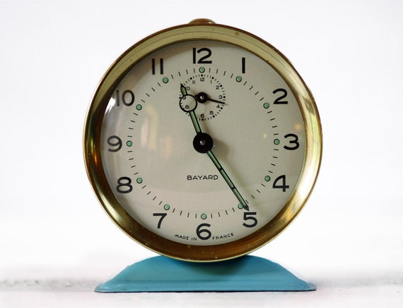 Vintage French BAYARD  Alarm clock - Blue with Gold border