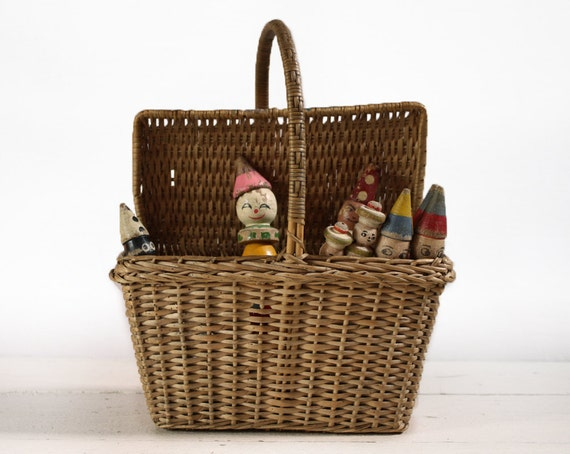 Lovely very OLD  little French WICKER basket for CHILDREN