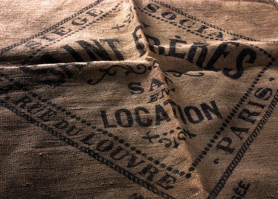 Antique french Hessian Grain sack bag Saint Freres PARIS RUE du LOUVRE