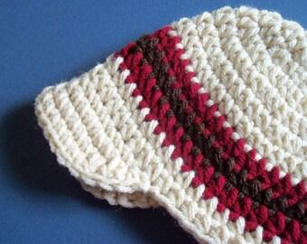 Oathmeal Visor Hat, Baby Visor Hat, Baby Boy, Newborn, Toddler, Boy - Made To order