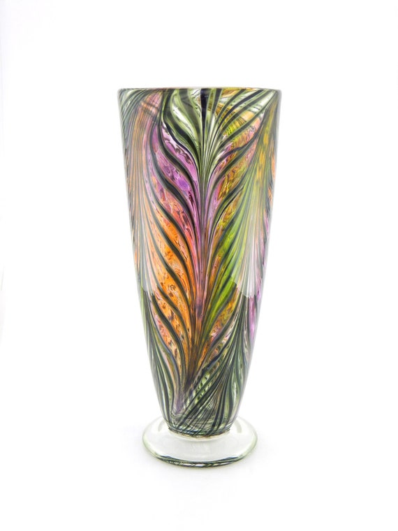 Hand Blown Art Glass Vase - Purple, Peach, and Citron Yellow