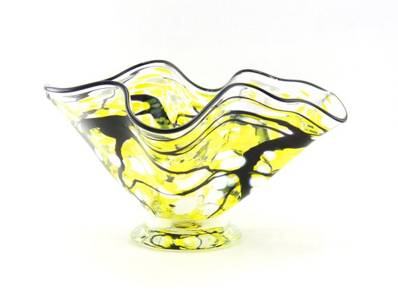 Hand Blown Art Glass Bowl - Freeform - Fluted - Citron Yellow, Lemon Yellow, White, and Black - Fluted