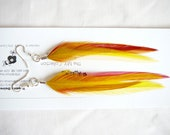 1     Set Golden Yellow Feather Earings .......Accents to your Feather Hair Extension By The MyCollection2