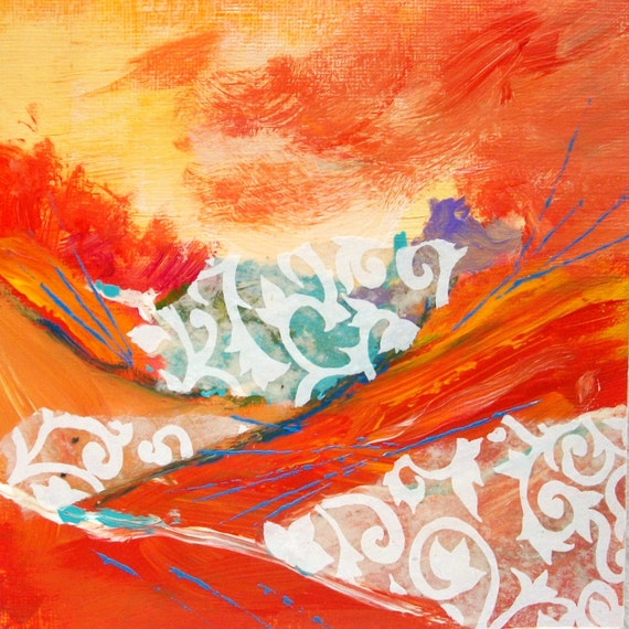 Original Abstract Landscape, Collage Painting, Original Mixed Media Art, Orange, small format, 6x6, home decor