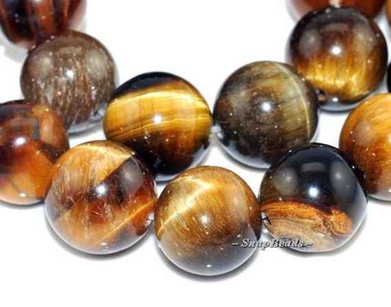 10MM Cognac Tiger Eye Gemstone, Cognac Brown, Round 10MM Loose Beads 7.6inch Half Strand (90164667-18)