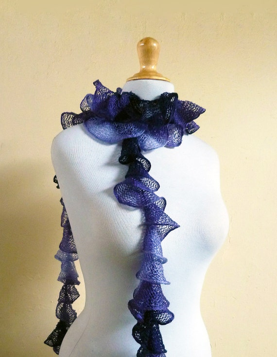 Knit Scarf - PURPLE ROSE Ruffled Spring Scarf - ruffle hand knit