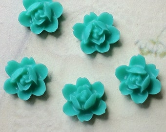 12 mm Green Colour Orchid Resin Flower Cabochons (.tu)