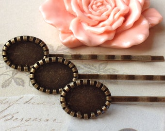 63 mm Antiqued Bronze Bobby Pins With 10 x 14 mm Settings (.am)