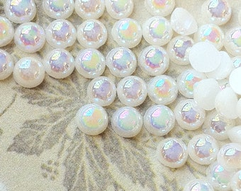 4 mm AB White Color  Flat Back Pearl Cabochons (.mmam)