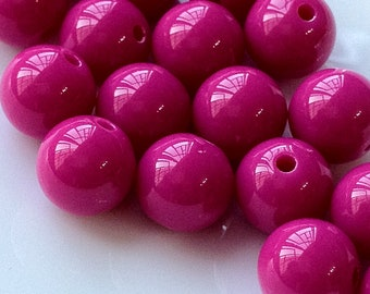 12 mm Opaque Hot Pink Color Round Shape Candy Acrylic Beads. (.mgu)