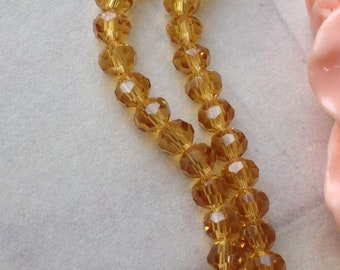 4 x 4 mm Earth Shape Golden Champagne Colour Crystal Beads (.mng)