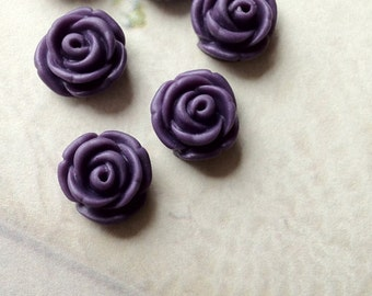 11 mm Purple Rose Resin Flower Cabochons (.tc)