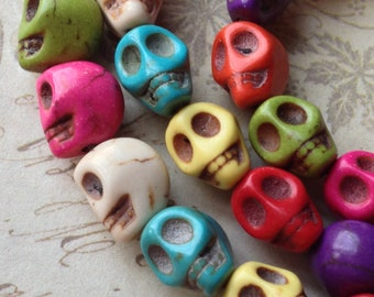7 x 8 mm Natural Turquoise Gem Stones Skull Beads of Assorted Colors (gz.msc)