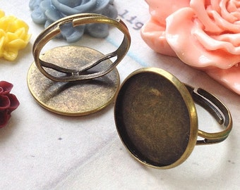 16 mm Antique Bronze Adjustable Ring Findings (for 14 mm buttons) (.ng)