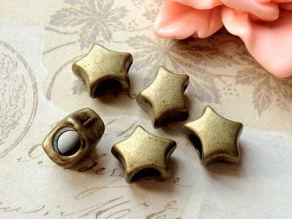 10 mm Antique Bronze Star Shape Metal Beads/ Spacer Beads.(.sah)