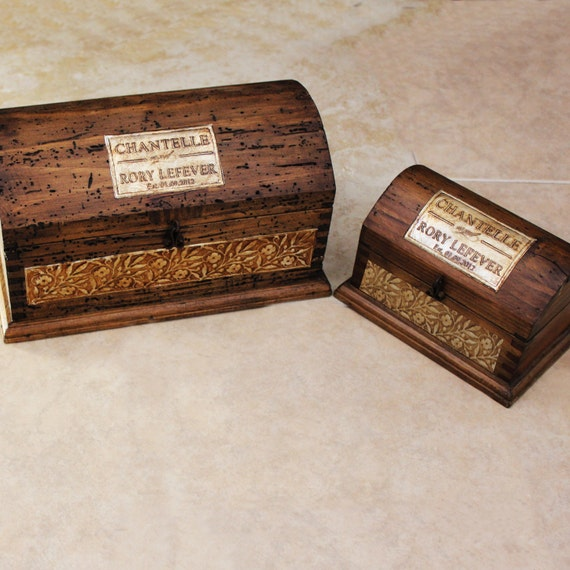Wedding Rustic Box Package - Wedding Guestbook and Ring Bearer with letterpress cards.