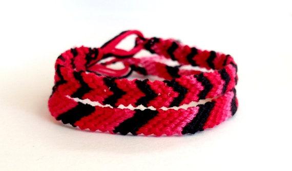 CLEARANCE - Hot Pink Ombre & Black Friendship Bracelets - Set of 2
