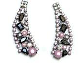 rhinestone earrings hand painted Pink Pearl Gray