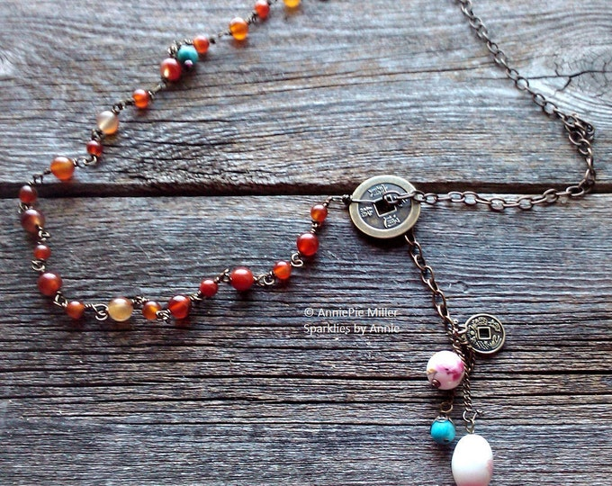 Carnelian Lariat, brass chain and carnelian beads