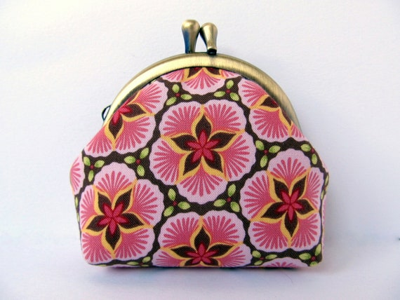 Coin purse Pink Sage green Sakura cherry blossom Change purse kiss lock