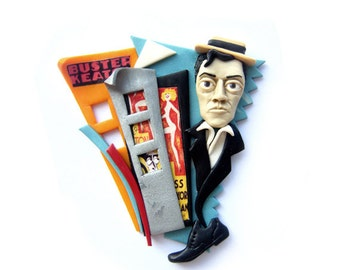 Buster Keaton - unusual fun colorful polymer clay brooch