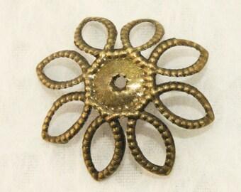 Antique Bronze Filigree Iron Bead Caps (50 pcs) B8