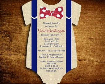 Set of 25 Suspenders Die Cut Baby Boy Shower Invitations - Customize your Colors